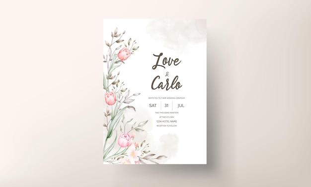 Conjunto de modelo de convite de casamento floral com decoração de flores e folhas em marrom e pêssego
