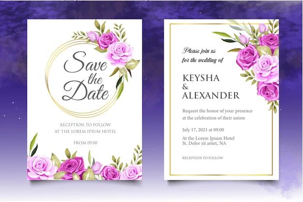 Conjunto de modelo de convite de casamento floral com lindas flores e folhas