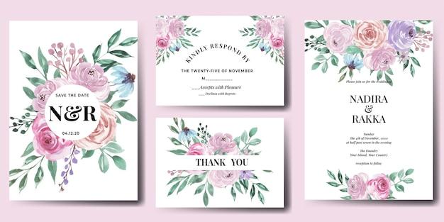 Conjunto de modelo de convite de casamento floral elegante