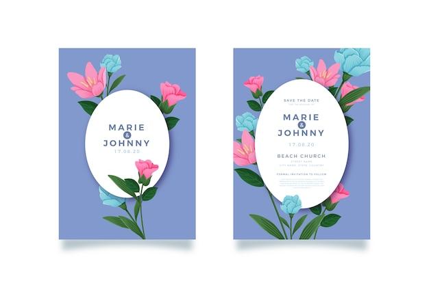 Conjunto de modelo de convite de casamento floral