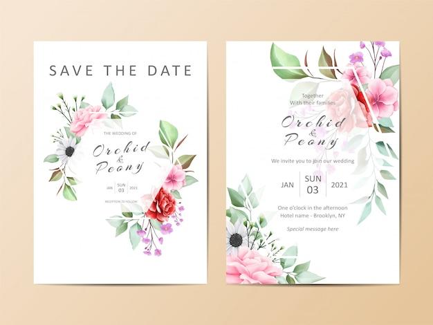 Conjunto de modelo de convite de casamento lindo de aquarela floral