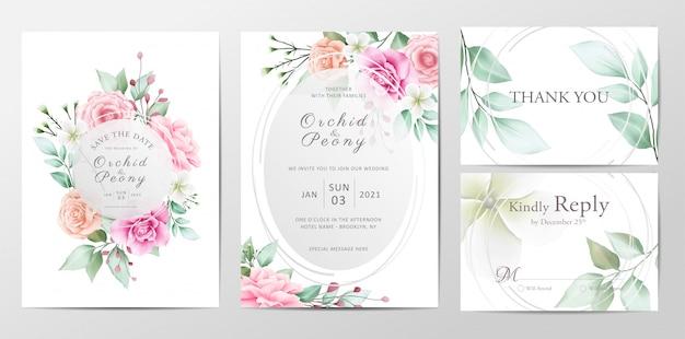 Conjunto de modelo de convite de casamento lindo de flores em aquarela