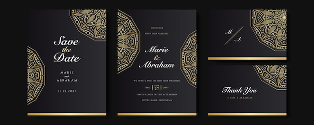 Conjunto de modelo de convite de casamento preto e dourado. conjunto de fundo abstrato design floral. papel de parede luxuoso de estilo moderno com flores artísticas e folhas botânicas, formas orgânicas