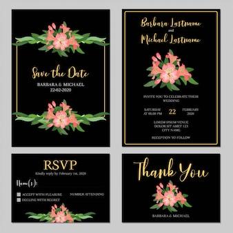Conjunto de modelo de convite de casamento preto