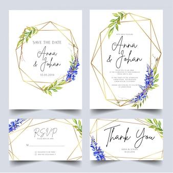 Conjunto de modelo de convite de casamento wisteria azul