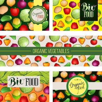 Conjunto de modelo de convite de loja de comida orgânica