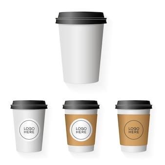 Conjunto de modelo de copo de papel de café com coloque seu logotipo isolado no fundo para uso corporativo