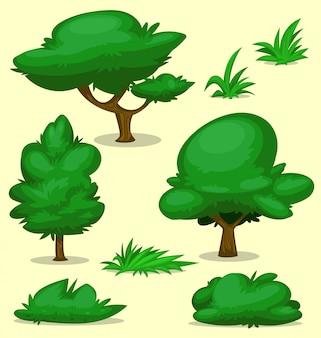 Conjunto de modelo de desenho de grama árvore arbusto isolado dos desenhos animados