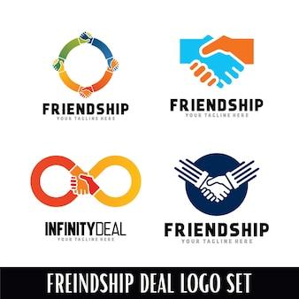 Conjunto de modelo de desenhos de logotipo de amizade