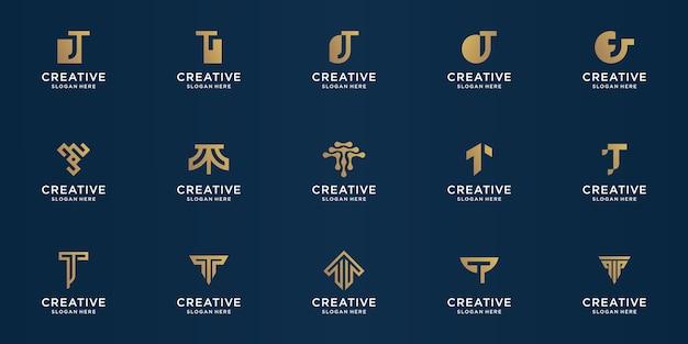 Conjunto de modelo de design abstrato letra t. ouro, luxo, prêmio de vetor.