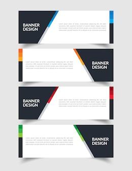 Conjunto de modelo de design criativo banner plana