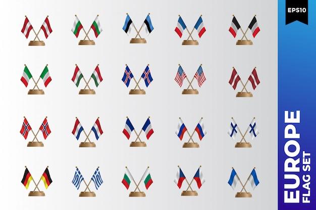 Conjunto de modelo de design de bandeira europeia