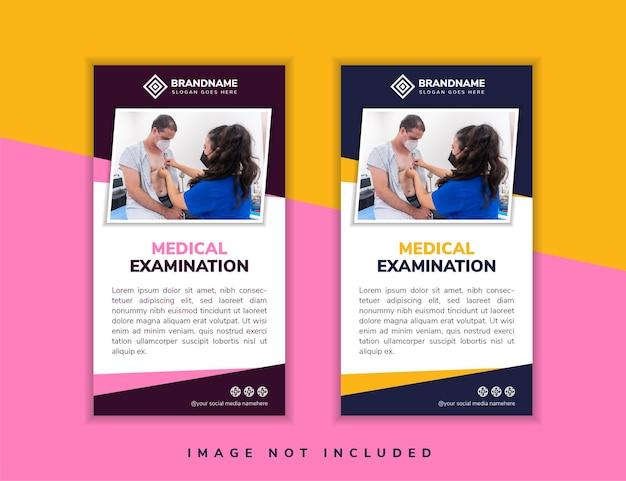 Conjunto de modelo de design de banner de layout vertical para retângulo diagonal de treinamento de exame médico