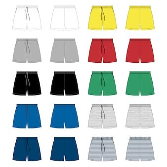 Conjunto de modelo de design de calções de desenho técnico.