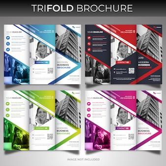 Conjunto de modelo de design de capa brochura com três dobras