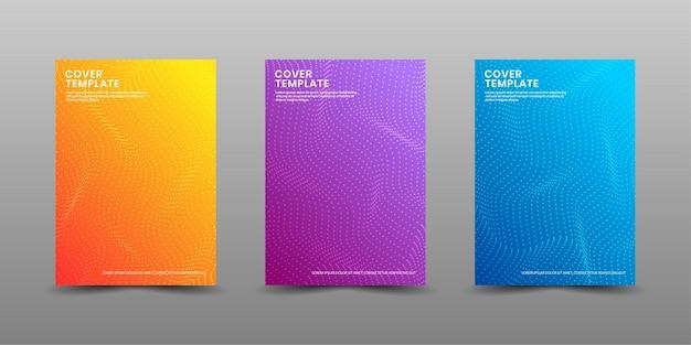 Conjunto de modelo de design de capa com ondas coloridas de meio-tom