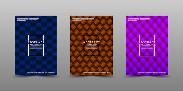 Conjunto de modelo de design de capa com padrão abstrato 3d