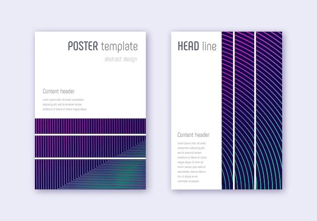 Conjunto de modelo de design de capa geométrica. linhas abstratas de néon em fundo azul escuro. design de capa encantadora. catálogo dramático, pôster, modelo de livro etc.
