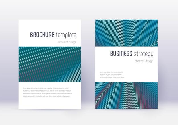 Conjunto de modelo de design de capa minimalista. linhas abstratas vermelhas sobre fundo azul branco. design energético da capa. catálogo, pôster, modelo de livro maravilhoso, etc.