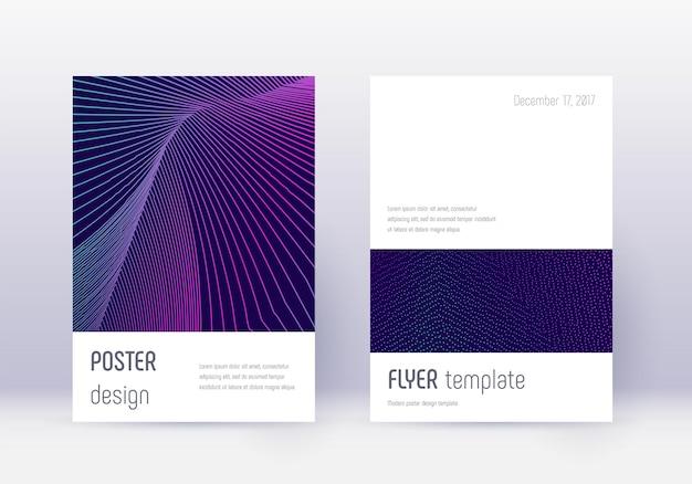 Conjunto de modelo de design de capa minimalista. resumo de néon