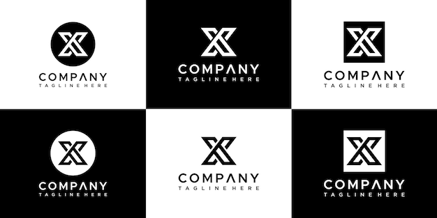 Conjunto de modelo de design de carta x logotipo