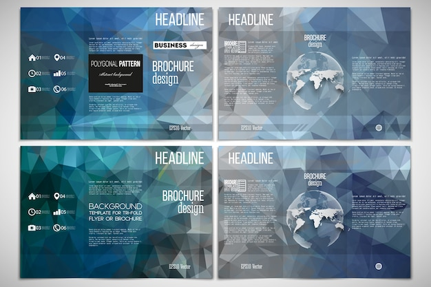 Conjunto de modelo de design de folheto de três dobras