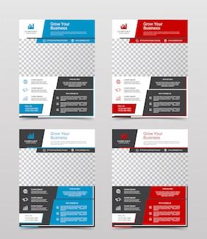 Conjunto de modelo de design de folheto empresarial moderno