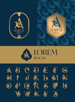 Conjunto de modelo de design de ícone de logotipo de carta, estilo de arte tailandesa