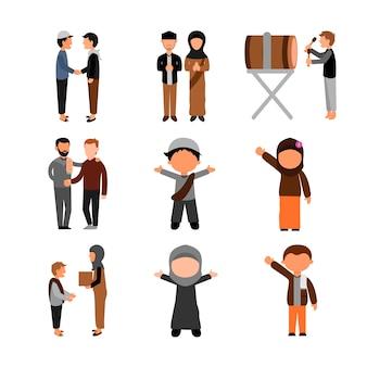 Conjunto de modelo de design de ilustração de grupo de pessoas muçulmanas