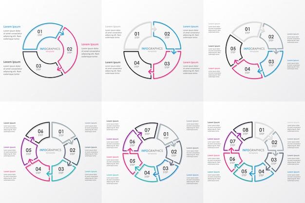 Conjunto de modelo de design de infográfico com setas circulares. conceito de negócio com 6 opções, partes, etapas ou processos.