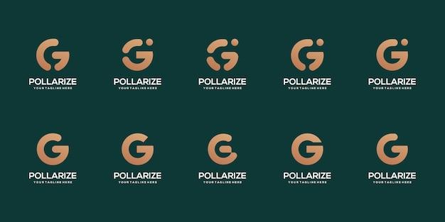 Conjunto de modelo de design de logotipo abstrato com letra g inicial