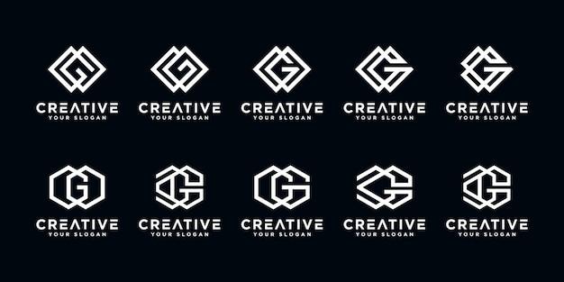 Conjunto de modelo de design de logotipo abstrato de monograma letra g criativa