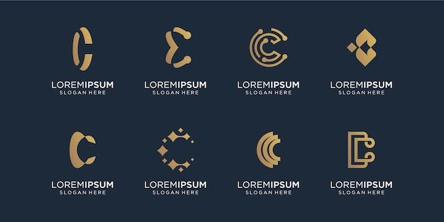 Conjunto de modelo de design de logotipo abstrato inicial com letra c