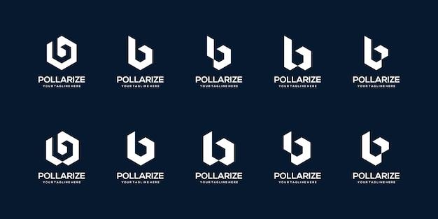 Conjunto de modelo de design de logotipo abstrato letra b inicial. ícones para negócios de construção, construção