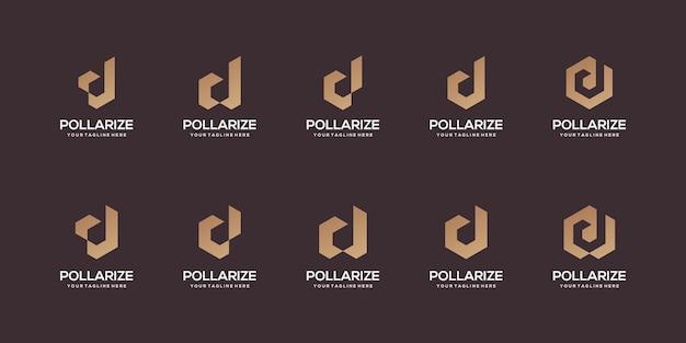 Conjunto de modelo de design de logotipo abstrato letra d inicial.