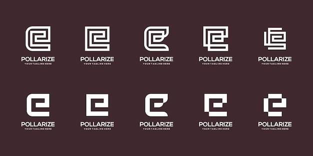 Conjunto de modelo de design de logotipo abstrato letra e inicial.