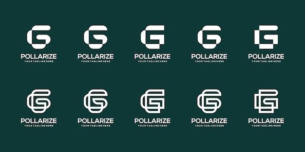 Conjunto de modelo de design de logotipo abstrato letra g inicial.