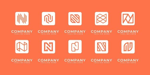 Conjunto de modelo de design de logotipo abstrato letra n inicial. ícones para negócios de luxo