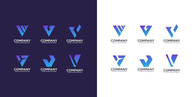 Conjunto de modelo de design de logotipo abstrato letra v inicial