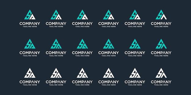 Conjunto de modelo de design de logotipo criativo abstrato monograma carta sa