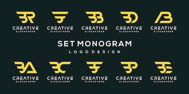 Conjunto de modelo de design de logotipo criativo abstrato monograma letra b