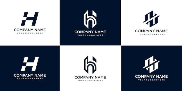 Conjunto de modelo de design de logotipo criativo abstrato monograma letra h