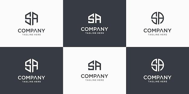 Conjunto de modelo de design de logotipo criativo abstrato monograma letra sa