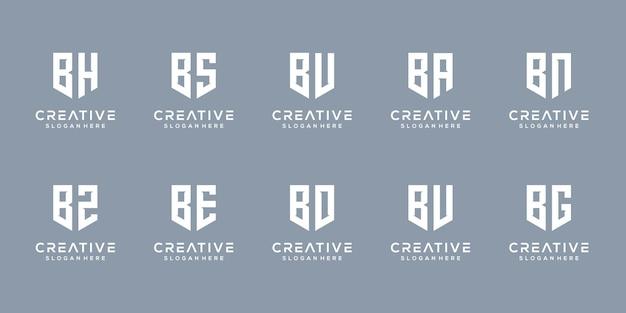 Conjunto de modelo de design de logotipo criativo de monograma letra b