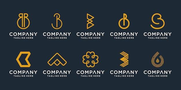 Conjunto de modelo de design de logotipo criativo letra b. ícones para negócios de luxo, elegantes e simples.