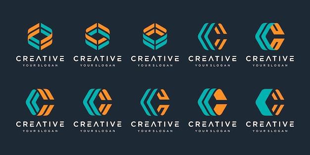 Conjunto de modelo de design de logotipo criativo letra c. s para negócios de luxo, elegante, simples.