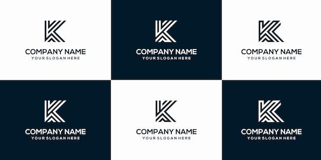 Conjunto de modelo de design de logotipo criativo letra k