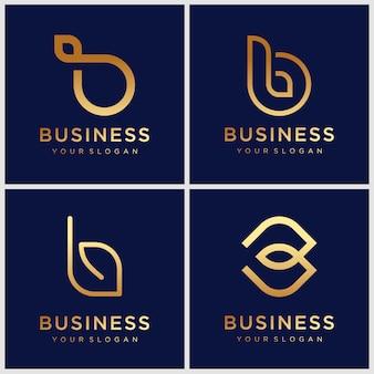 Conjunto de modelo de design de logotipo criativo monograma dourado letra b