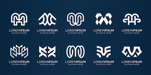 Conjunto de modelo de design de logotipo da coleção m marca criativa m combinado com estilo de arte de linha e símbolo plano identidade de monograma elegante corporativo simples vetor premium