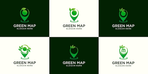 Conjunto de modelo de design de logotipo de agricultura de broto de folha de mapa de pinos
